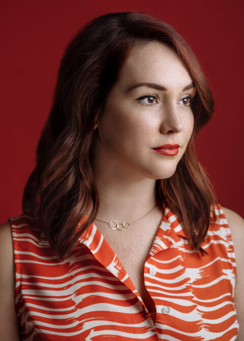 Emma Stone vibes / Red Seamless Paper Background / Portrait / Freckles