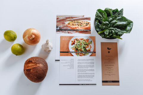 Fresh food flatlay with ingredients and recipe card.